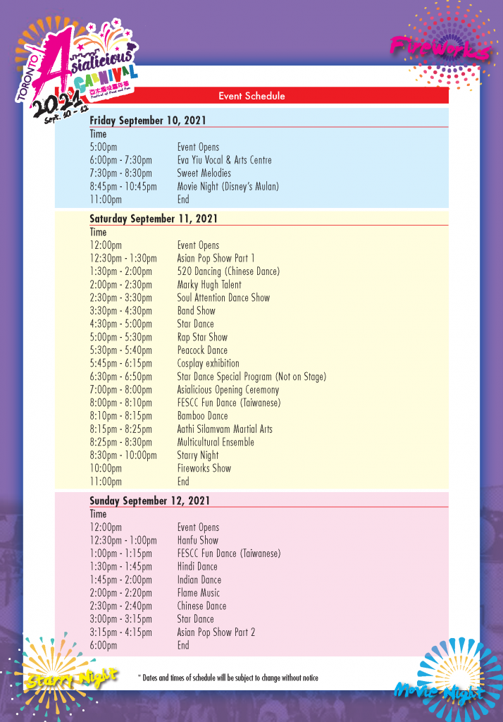 Asialicious Carnival 2021 Event Schedule | Asialicious Carnival