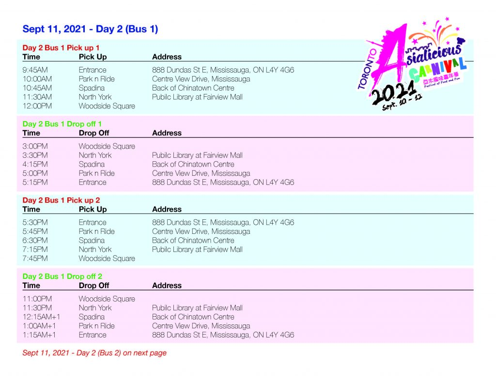 Asialicious Shuttle Schedule day 2 1 | Asialicious Carnival