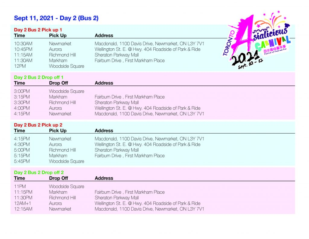 Asialicious Shuttle Schedule day 2 2 | Asialicious Carnival
