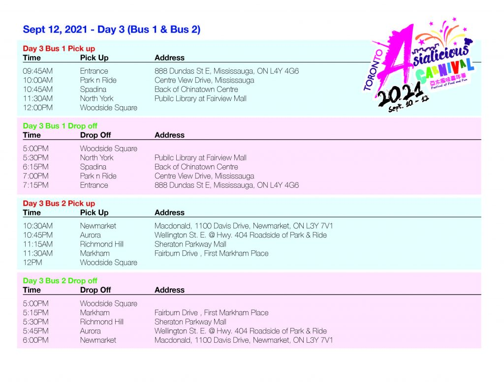 Asialicious Shuttle Schedule day 3 | Asialicious Carnival